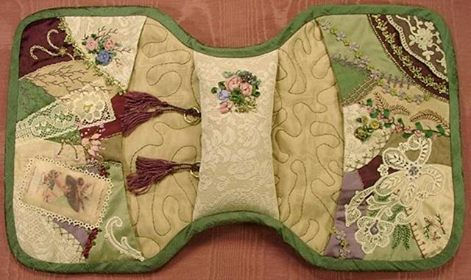 Crazy Quilt Arm Chair Sewing Caddy Tutorial from Maureen Greeson from Maureen's Vintage Acquisitions