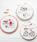 Summer Series Embroidery Hoop Art by Beverly from Flamingo Toes